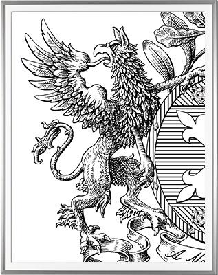 Armoiries VIALETON détail 1 Encre de Chine (c)HERALDIKER